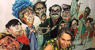 Florinda Meza inaugura exposición de caricaturas en homenaje a 'Chespirito'